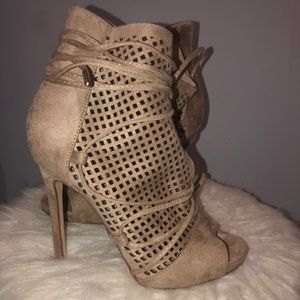 Nude wrap around heels